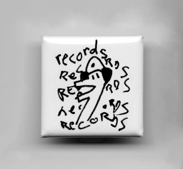 Square white button with black outline music fan monster with the word records repeated five times around it